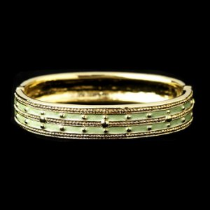 Gold with Peridot Enamel Bangle Fashion Bracelet 6102