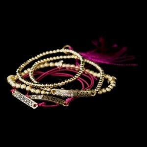 """Gold Fuchsia Tassel Fashion """"Memories for Eternity"""" Bracelet 8818"""