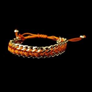Gold Orange Fashion Braided Bracelet 8860