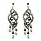 Silver Smoked & Black Rhinestone Dangle Earrings 8657