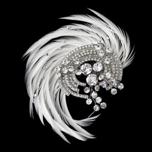 Antique Silver Rhodium Crystal & Ivory Feather Fascinator Comb 9938