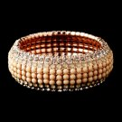 Rose Gold Champagne Rhinestone Stretch Bracelet 8878