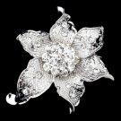 Antique Silver Clear Rhinestone Flower Brooch 223