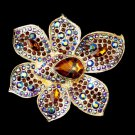 Gold Light Topaz & Brown AB Rhinestone Brooch 8799