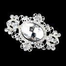 Silver Clear Rhinestone Brooch 935