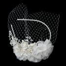 Elegant Ivory Floral Bridal Headband Blusher in Ivory Pearls & Sparkling Rhinestones 9661