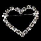Brooch 30022 Silver Rhinestone Heart