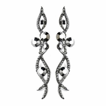 Antique Silver Hematite Smoked Rhinestone Dangle Earrings 8942