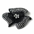 Black Clear Rhinestone Flower Brooch 168