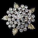 Gold Clear Rhinestone Flower Leaf Brooch 149