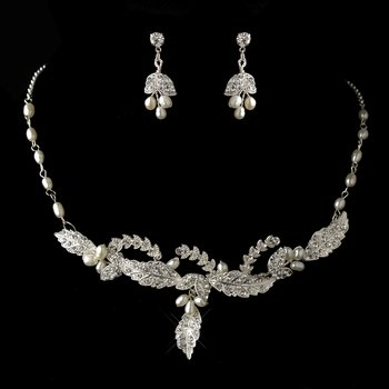 Silver Freshwater Pearl & Rhinestone Leaf Necklace & Earrings Jewelry Set 8155