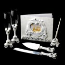 Wonderful Cinderella Coach Carriage Toasting Flutes, Cake Server, Guestbook & Pen Set