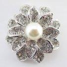 Antique Rhodium Silver Ivory Pearl Brooch 234
