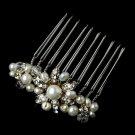 Gold Ivory Pearl & Rhinestone Hair Comb Pin 3912