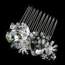Silver Clear Swarovski Crystal Bead & Rhinestone Hair Comb 8984
