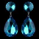 Antique Rhodium Silver w/ Large Aqua Teardrop Earrings 40698