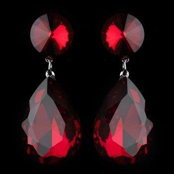 Antique Rhodium Silver w/ Large Burgundy Teardrop Earrings 40698