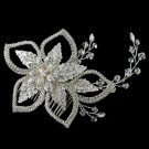 Silver Clear Swarovski Crystal Bead, Bead & Rhinestone Floral Leaf Comb