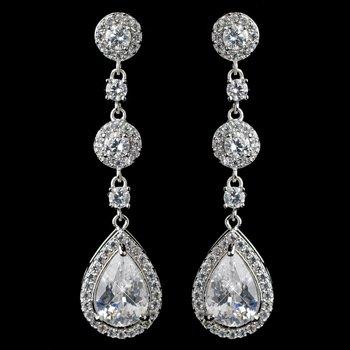 Rhodium Clear CZ Teardrop Dangle Earrings 1336