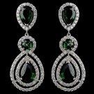 Rhodium Emerald Teardrop & Round CZ Dangle Earrings