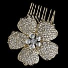 Light Gold Clear Rhinestone Flower Hair Comb 9995
