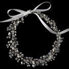 Rhodium Freshwater Pearl & Swarovski Crystal Bead Vine Headband HP 1214