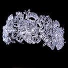 Sparkling floral rose rhinestone tiara headpiece