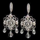 Antique Rhodium Silver Clear Swarovski Crystal Bead & Rhinestone Earrings 9863