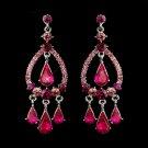Silver Fuchsia Crystal & Rhinestone Chandelier Bridal Earrings 8686