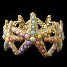 Gold Multi Colored Pearl Stretch Starfish Bracelet