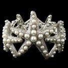 Rhodium Diamond White Pearl Stretch Starfish Bracelet