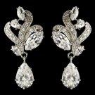 Rhodium Clear Marquise & Teardrop CZ Crystal Drop Earrings 9736