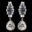 Rhodium Clear Teardrop CZ Crystal Drop Earrings 9739