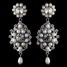 Antique Rhodium Silver Clear Rhinestone & Freshwater Pearl Accent Drop Earrings 9862