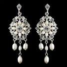 Silver Ivory Freshwater Pearl Chandelier Earrings 9684