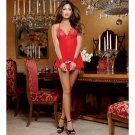 Stretch Mesh Halter Babydoll w/Adjustable Ties, Open Crotch Panty & Naughty Restraints Red O/S