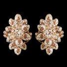 Rose Gold Champagne Rhinestone Clip On Earrings 8944