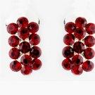 Red Rhinestone Bridal Clip On Earring 24678*