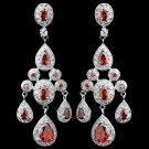 Rhodium Red Teardrop CZ Chandelier Earrings 8677
