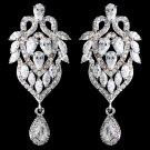 Rhodium Clear Marquise & Teardrop CZ Drop Earrings 9219
