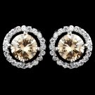 Rhodium Champagne & Clear CZ Rondelle Round Stud Earrings 2288