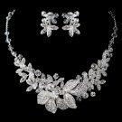 Silver Rhodium Clear Swarovski Crystal Bead & Rhinestone Floral Jewelry Set 6821