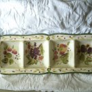La Toscana 4 Part Relish Dish Pamela Gladding Fruit Design 18 3/8 Inches