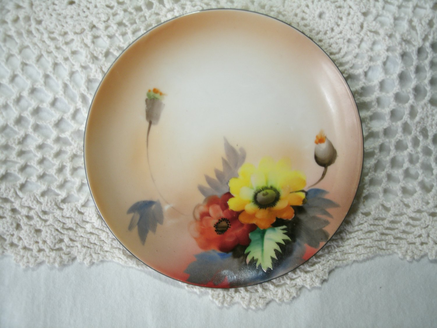 Hand Painted Floral Plate Noritake Morimura 6 1/4 Inches 1920's Vintage