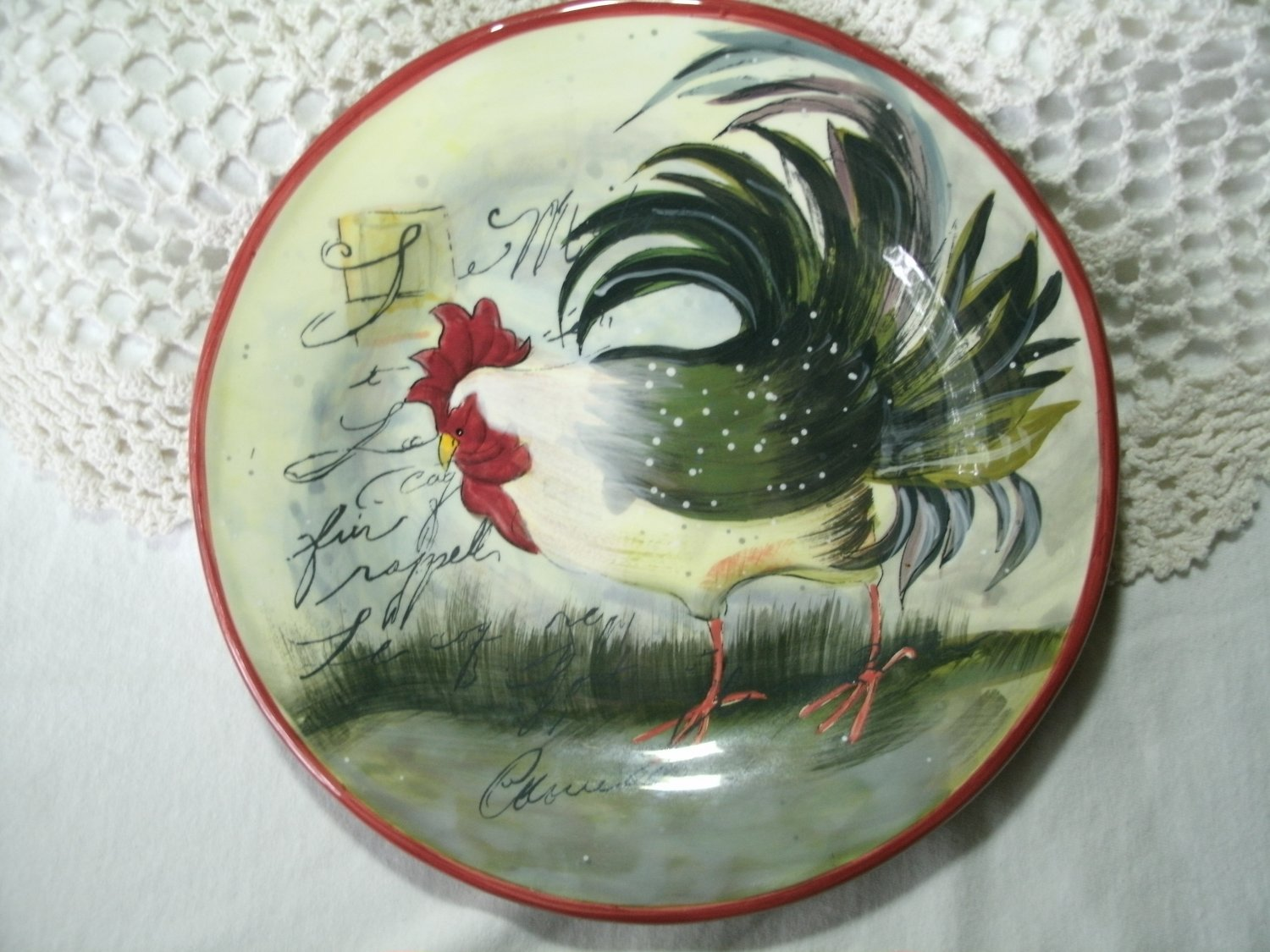 Le Rooster Salad Plate, Susan Winget Country Farm Design 8 5/8 Inches Green Beige