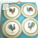 Debbie Mumm Rooster Dessert Plates Set of 4 In Blue and Beige Colors With The Original Box