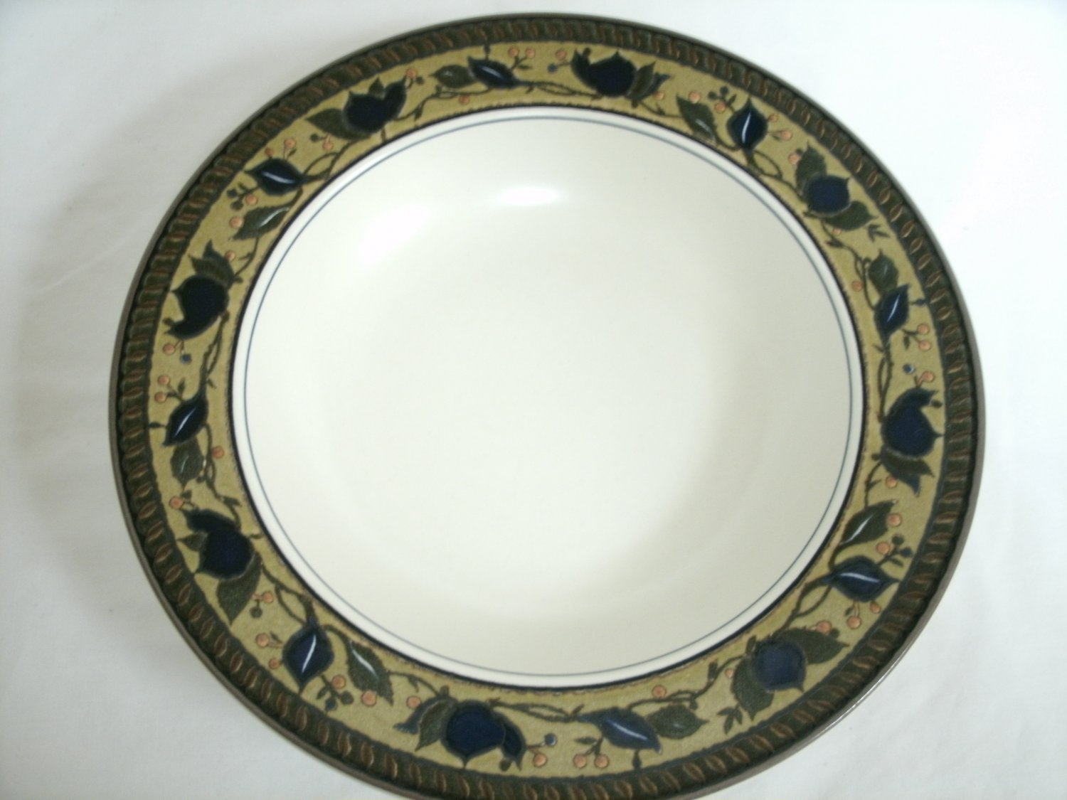 Mikasa Intaglio Arabella Large Rim Soup Bowl Beige and Blue Stoneware With Leaf Design 9 3/8 Inches