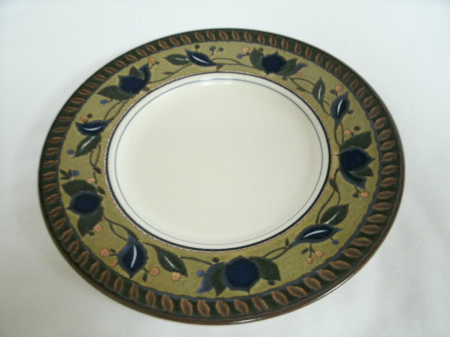 Mikasa Intaglio Arabella Saucer For Flat Cup Beige and Blue Stoneware With Leaf Design 6 1/2 Inches