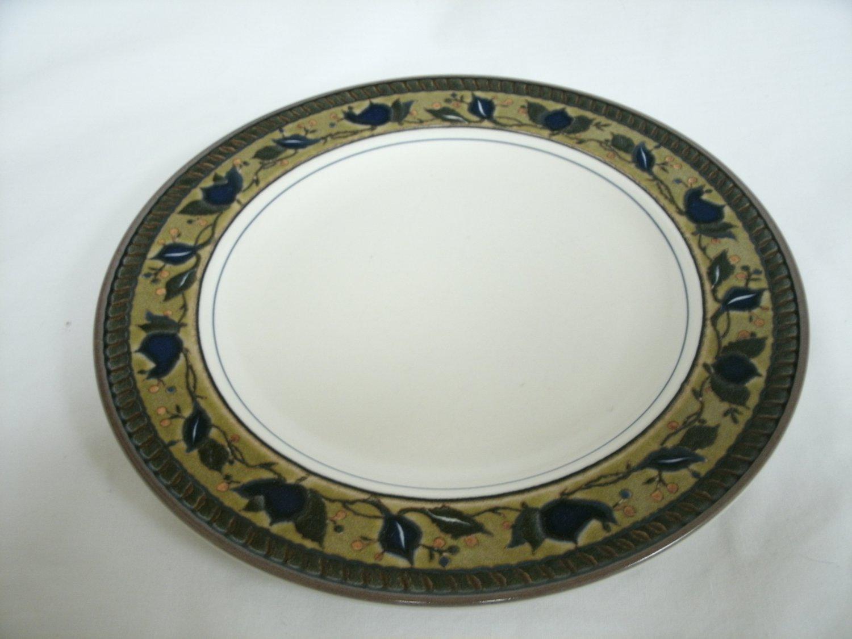 Mikasa Intaglio Arabella Salad Plate Beige and Blue Colors Stoneware With Leaf Design 8 1/4 Inches