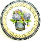 Debbie Mumm's Spring Bouquet Salad Plate by Sakura 1999, Design Is Container with Blue Hydrangea